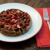 Cocoa Pumpernickel Waffles with Cherries