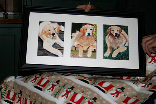 oil painting of golden retrievers