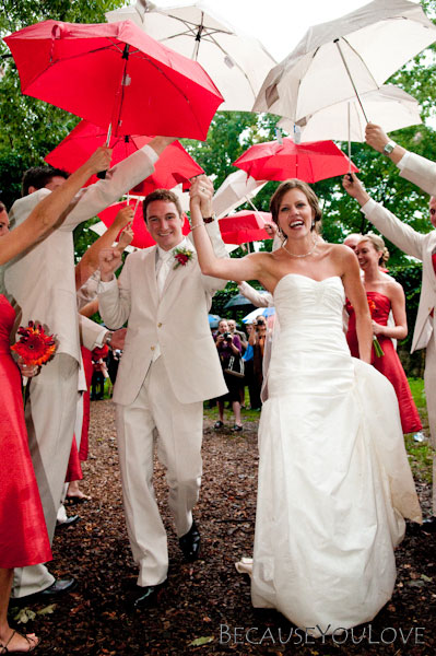 wedding day with umbrellas