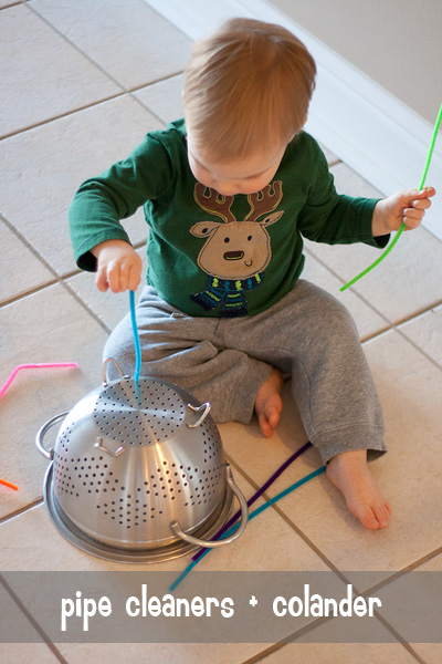 busy toddler: pipe cleaners + colander